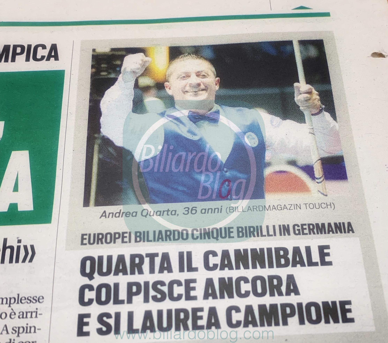 Campionato Europeo di Biliardo 5 birilli 2019: Andrea Quarta Campione!