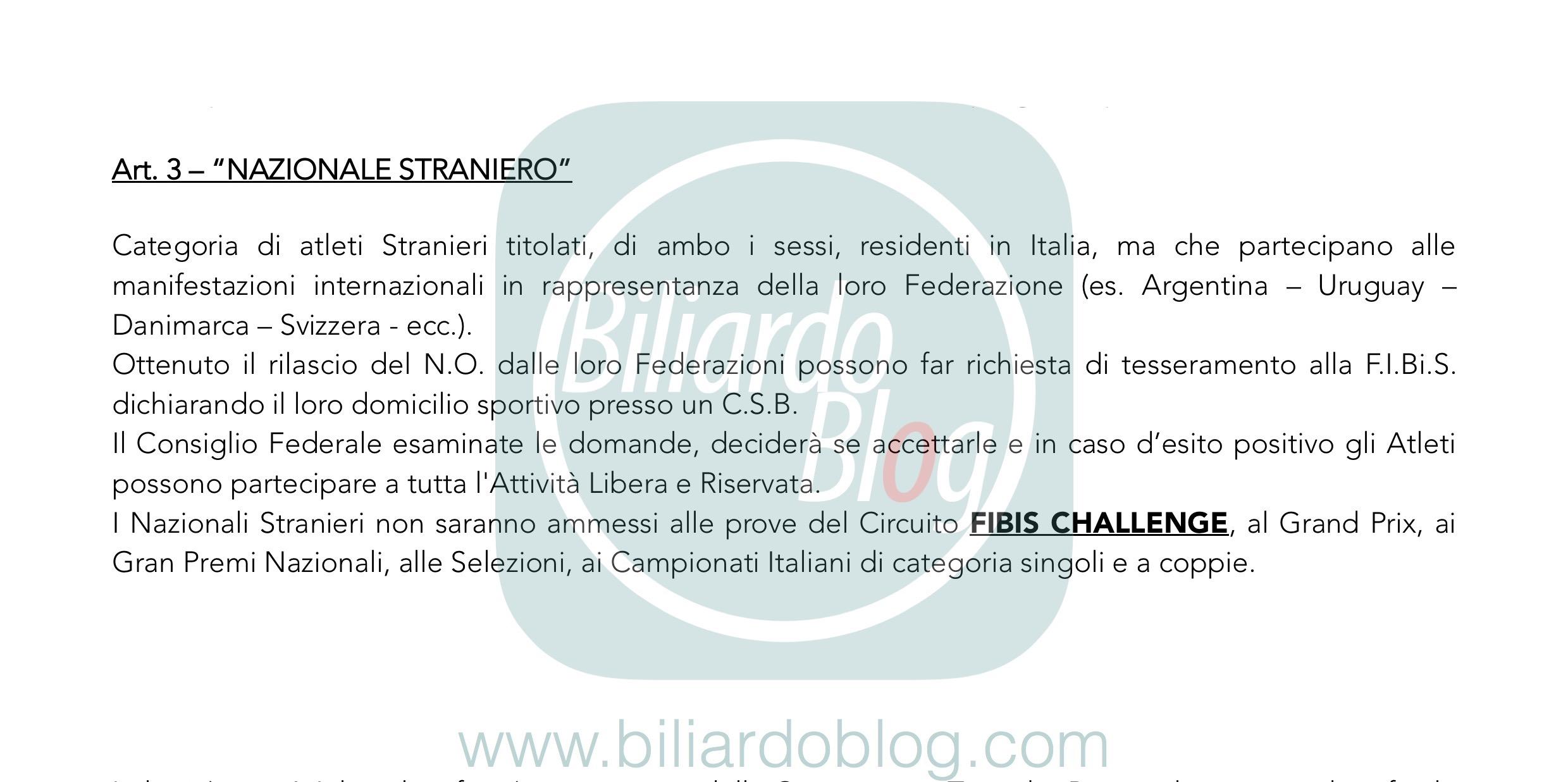 Regolamento Tecnico Campionato Biliardo 2019 2020: i Nazionali Stranieri.