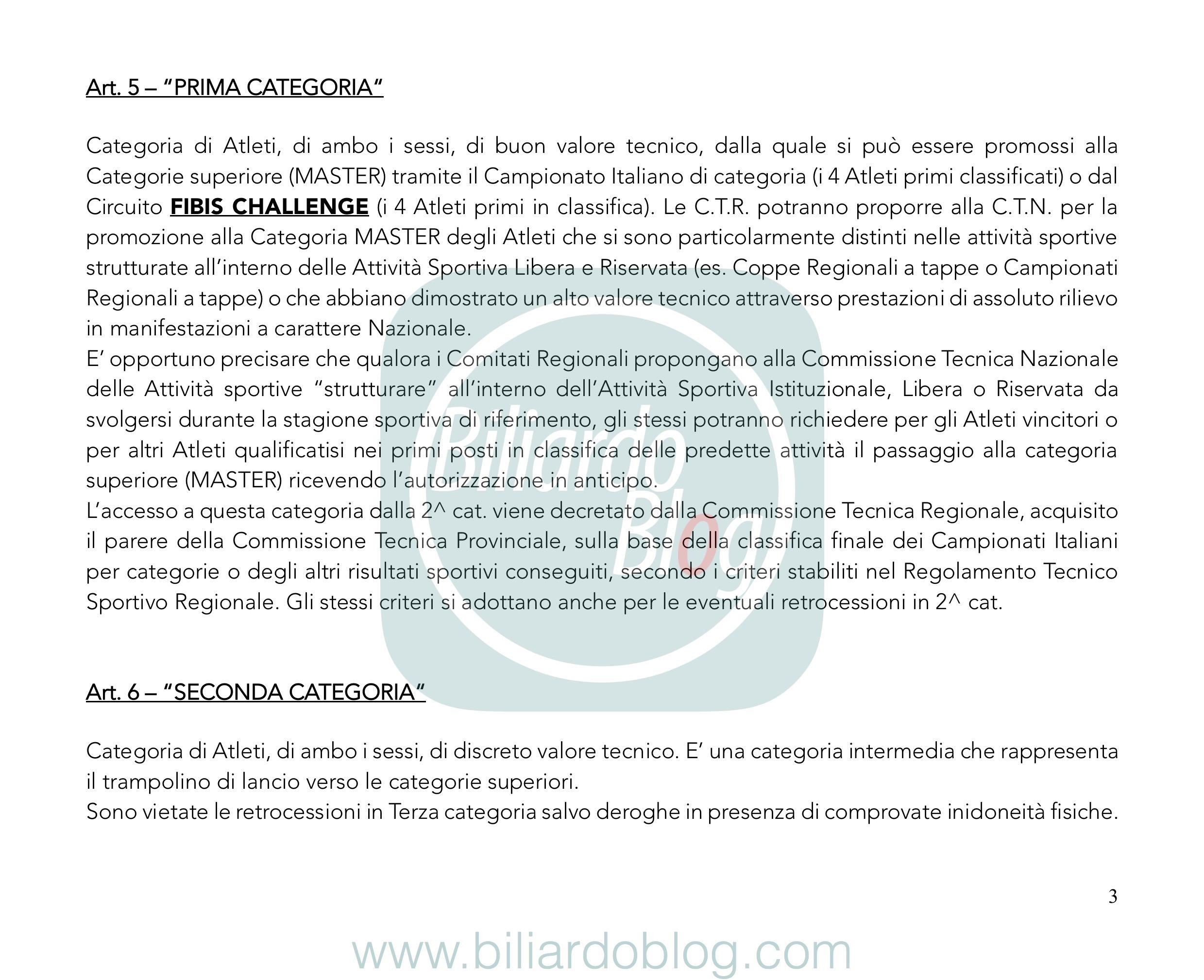 Regolamento Tecnico Campionato Biliardo 2019 2020: Prima e Seconda