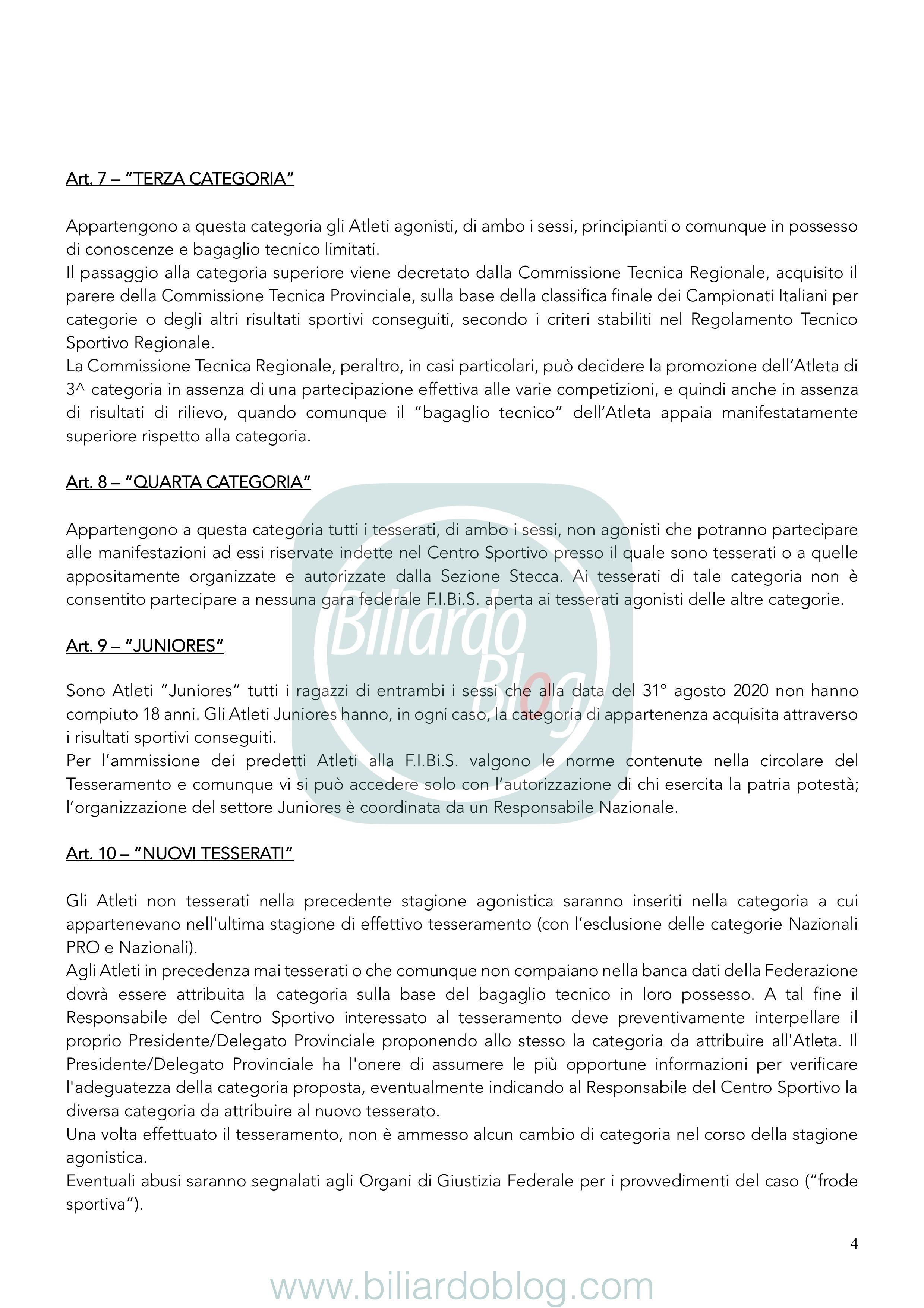 Regolamento Tecnico Campionato Biliardo 2019 2020: le categorie Inferiori