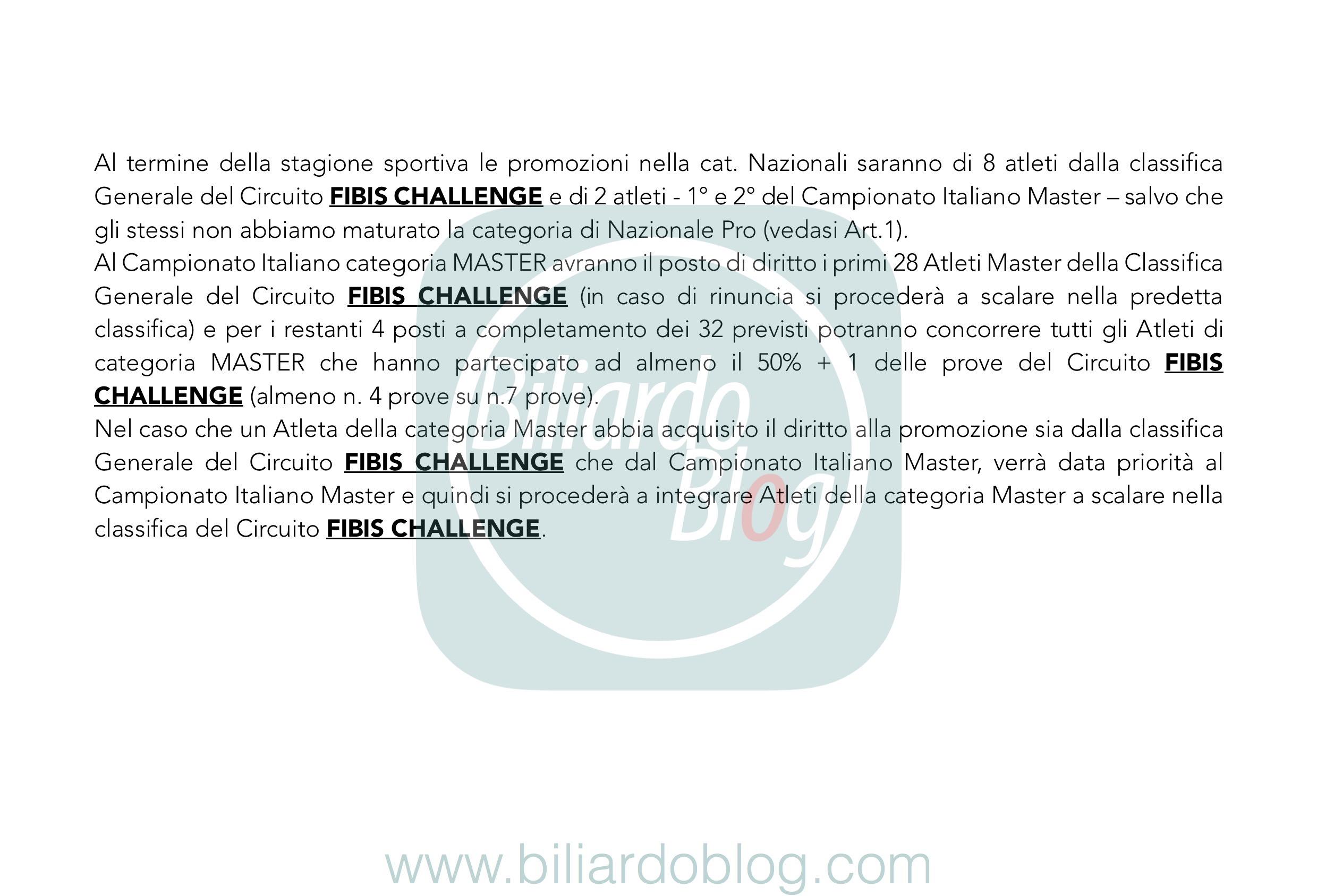 Regolamento Tecnico Campionato Biliardo 2019 2020: i Master.
