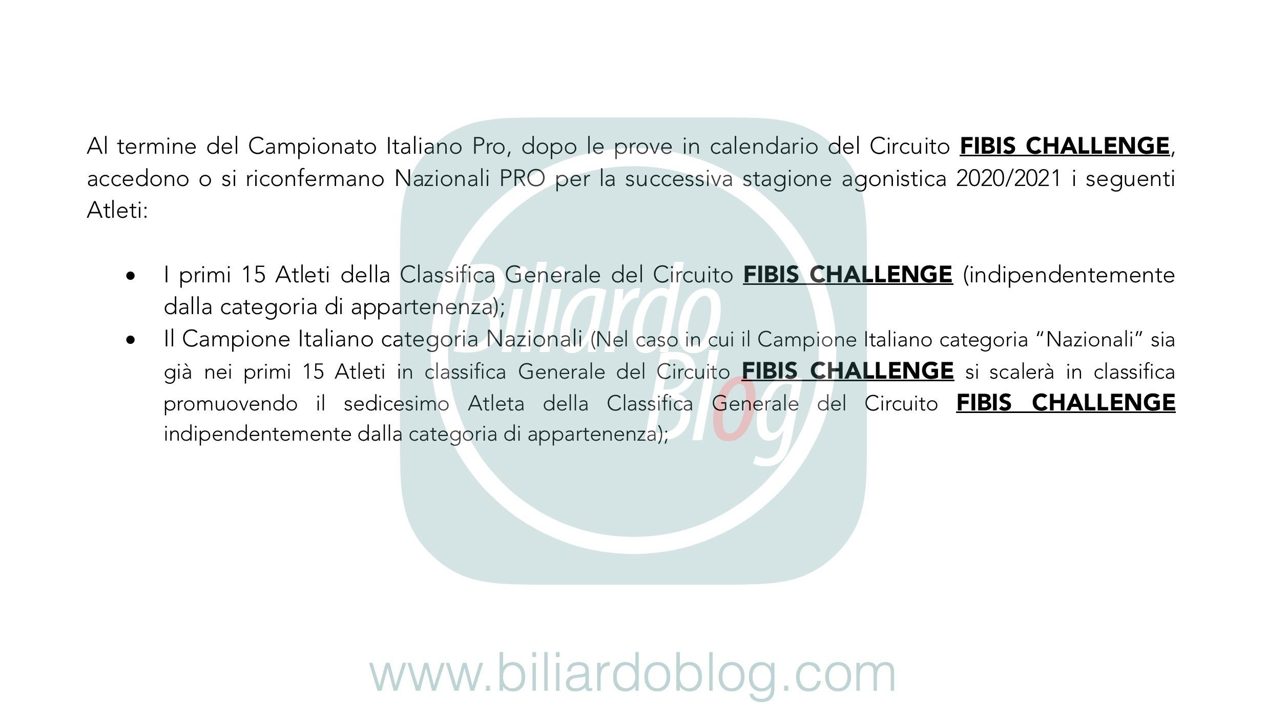Regolamento Tecnico Campionato Biliardo 2019 2020: i Nazionali