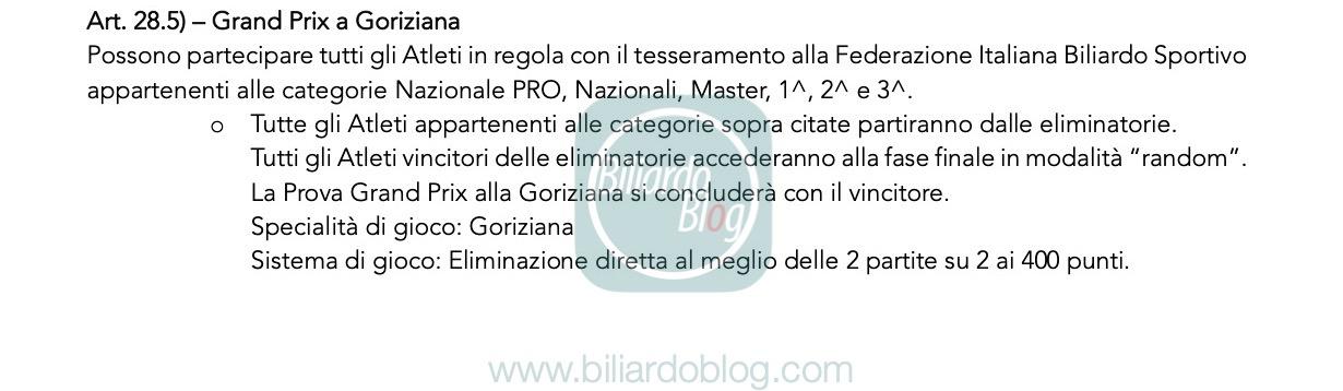 Verso il Grand Prix di Goriziana 2019 2020: regolamento