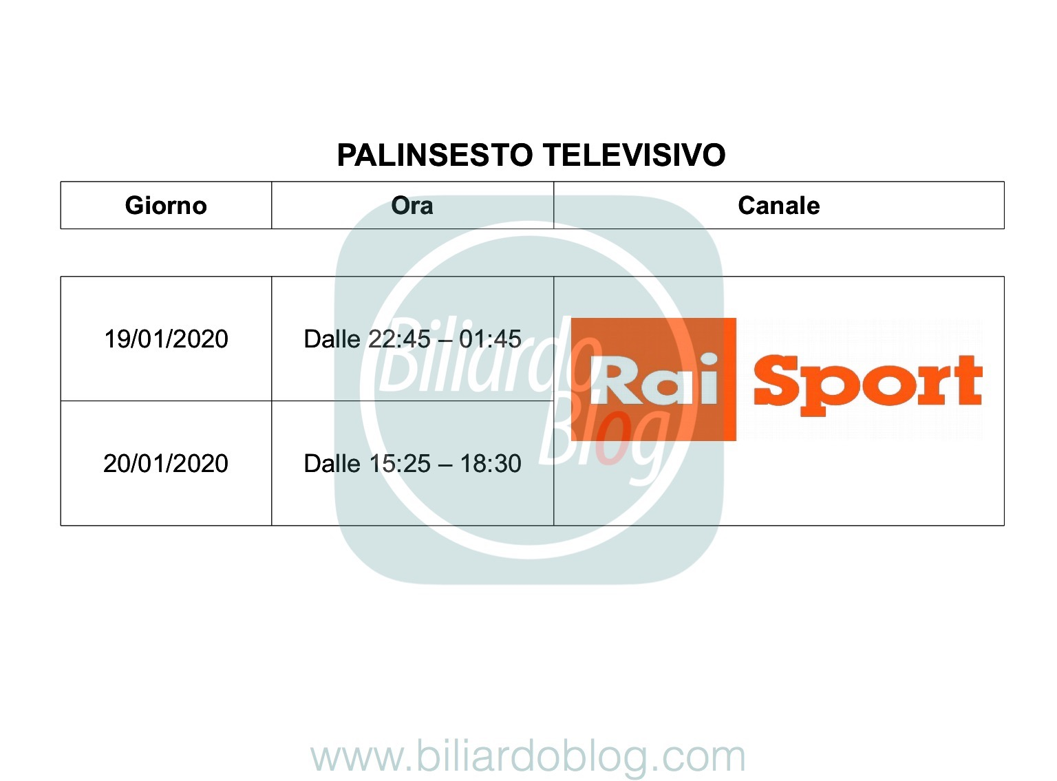 Seconda Tappa FIBiS Challenge 2019 2020: Palinsesto TV